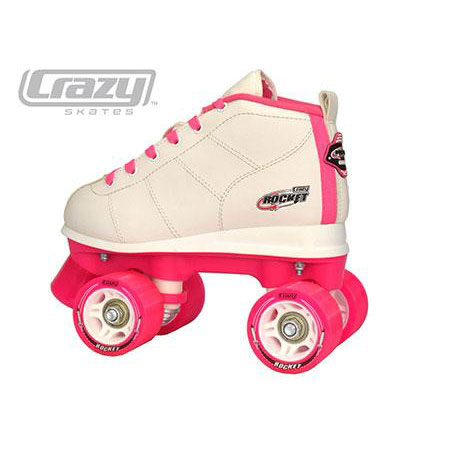 white and pink roller skates